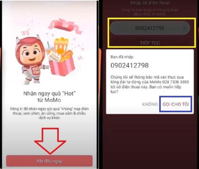 Bạn thiết lập tài khoản Momo theo hướng dẫn