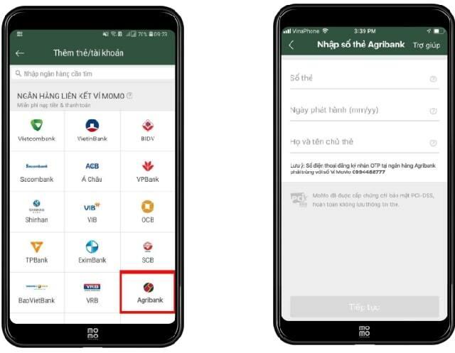 Chọn ngân hàng Agribank để liên kết ví Momo