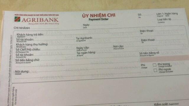 Mẫu giấy chuyển tiền đang áp dụng của ngân hàng Agribank