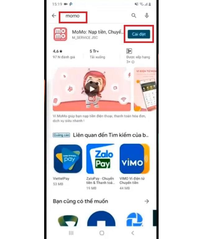 Tải ứng dụng ví Momo về điện thoại di động