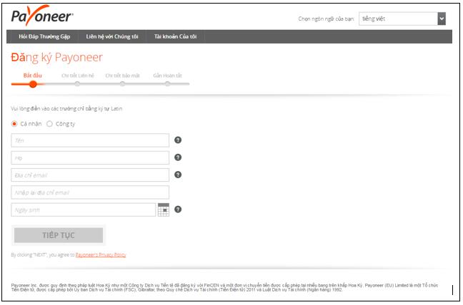 Bước 1: bước đầu đăng ký tài khoản Payoneer