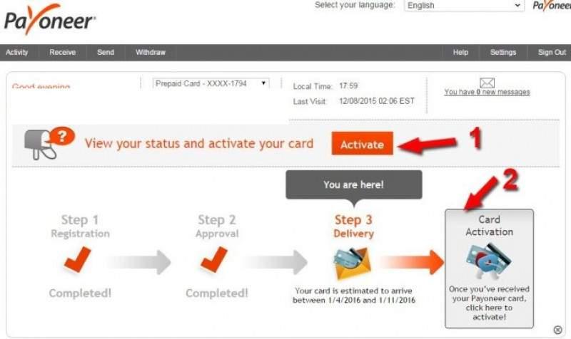 Bước 1: chọn Activate để kích hoạt thẻ