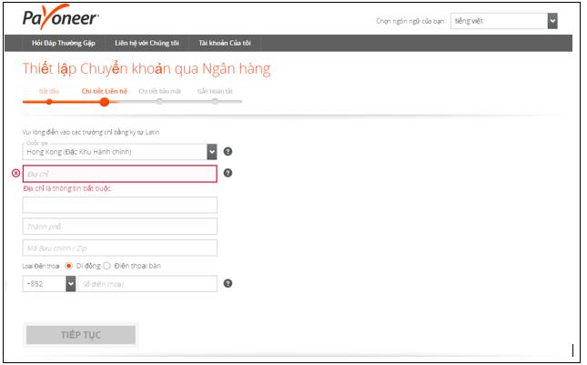 Bước 2: điền chi tiết thông tin cá nhân