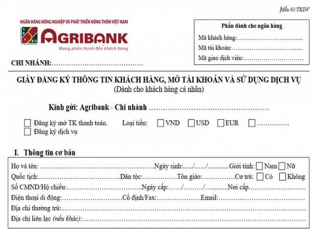 Mẫu đơn xin mở thẻ ATM