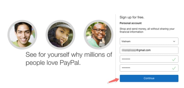 Bạn điền địa chỉ email cá nhân, mật khẩu và click Continue