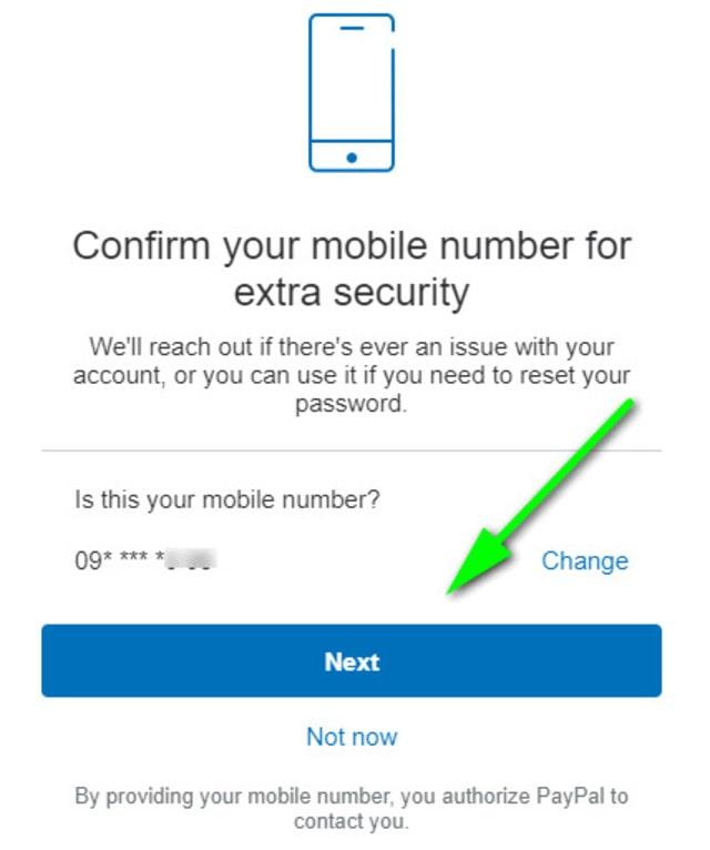 Click Next để xác thực số điện thoại