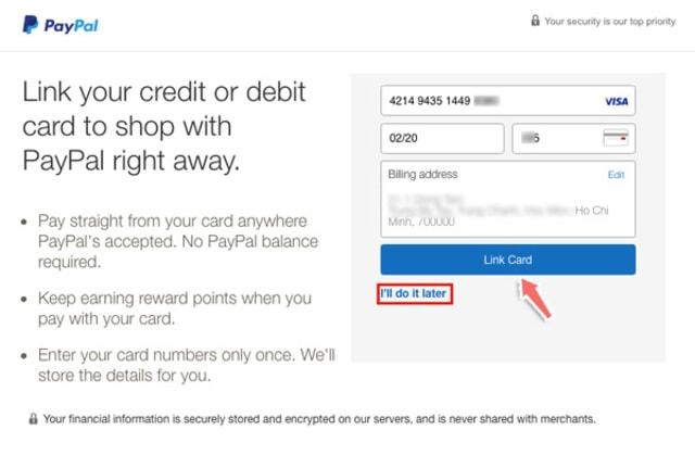 Điền các thông số vào từng ô và click Link Card