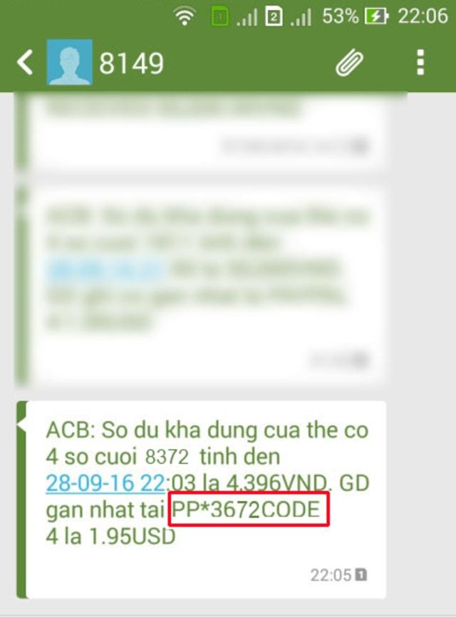 Mã code được gửi qua số điện thoại bạn đã xác thực phía trên