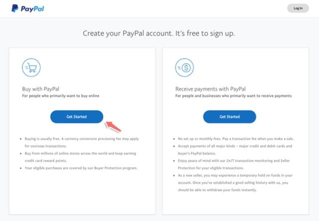 Nếu bạn là cá nhân click vào Get started ở mục Buy with PayPal