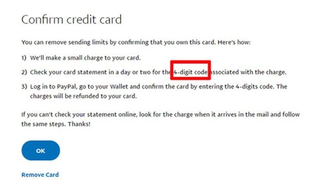 Paypal sẽ thông báo bạn cần nhập bộ 4 mã digital - code để hoàn tất việc verify, bạn click vào Ok