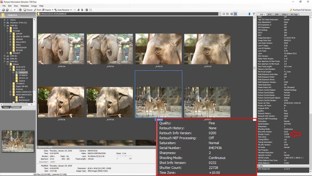 Check shot máy ảnh Nikon qua Picture Information Extractor